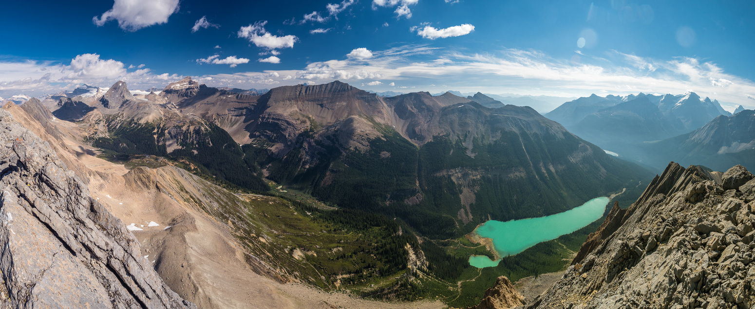 Looking over Niles Meadow at left, Bosworth at center and over Sherbrooke Lake towards Lake Louise at right.
