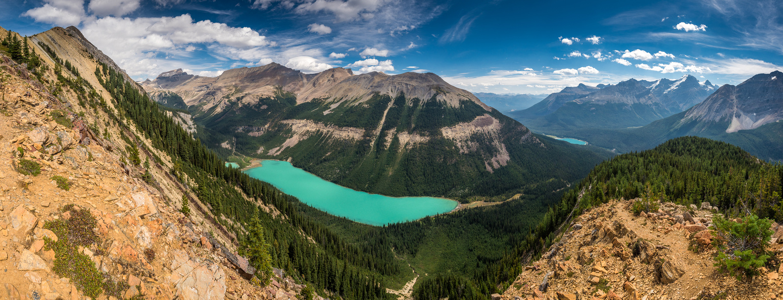 One last complete view of Sherbrooke Lake from the lower south ridge before I hit tree line.