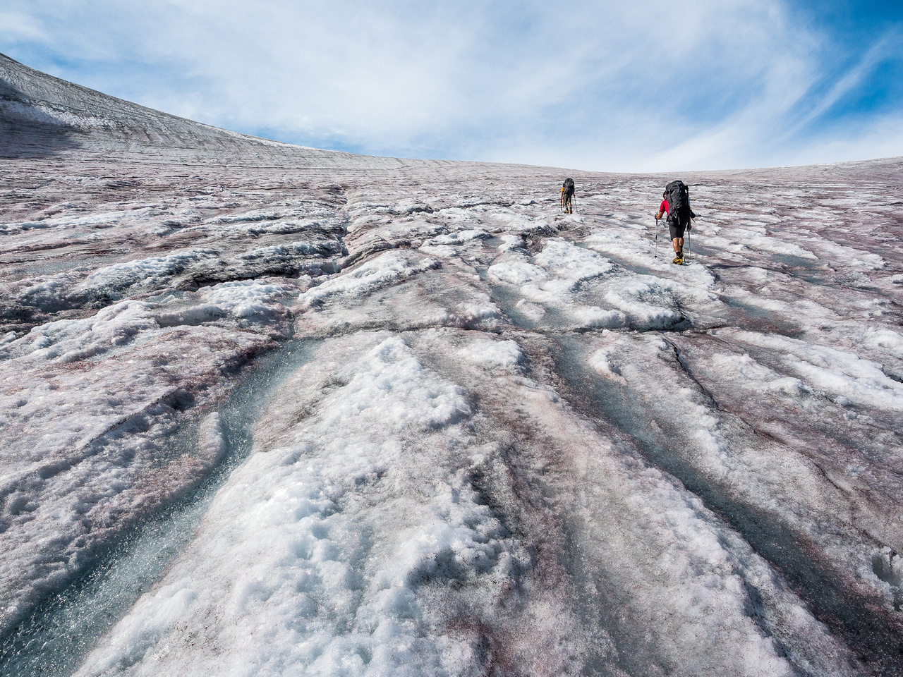 Ascending the Colombia Glacier to our bivy.