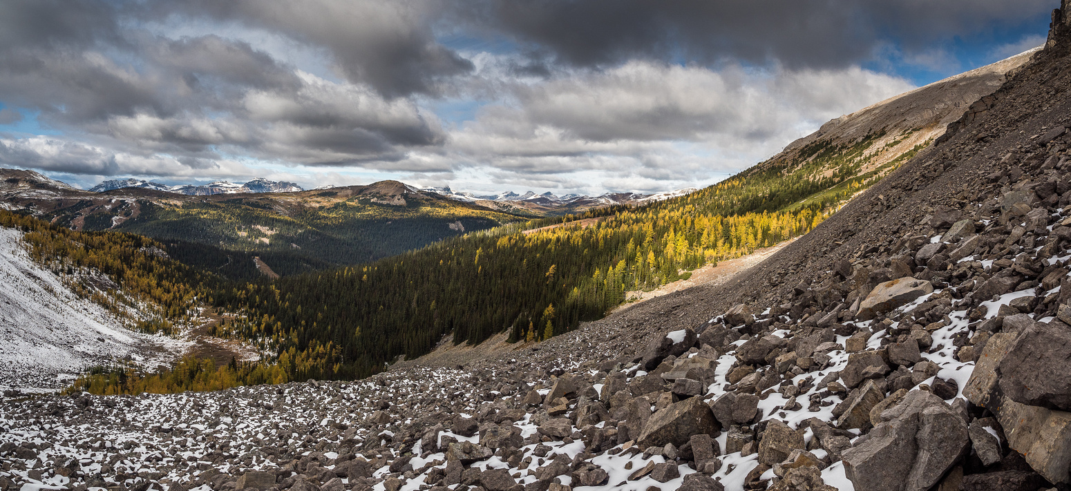 I will traverse this boulder field to the right to attain the lower slopes of Eagle Mountain.