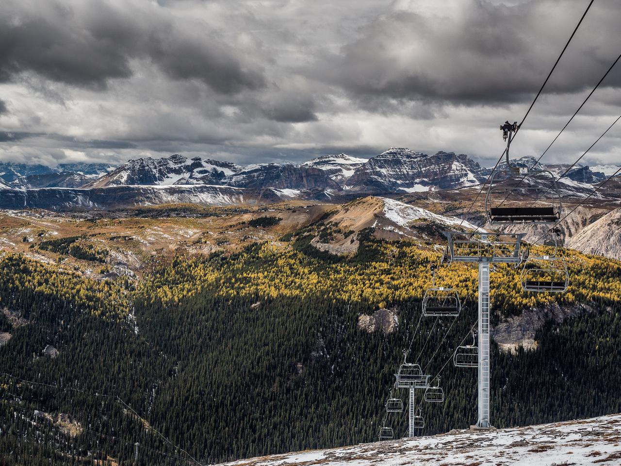 Chairlift and larches.