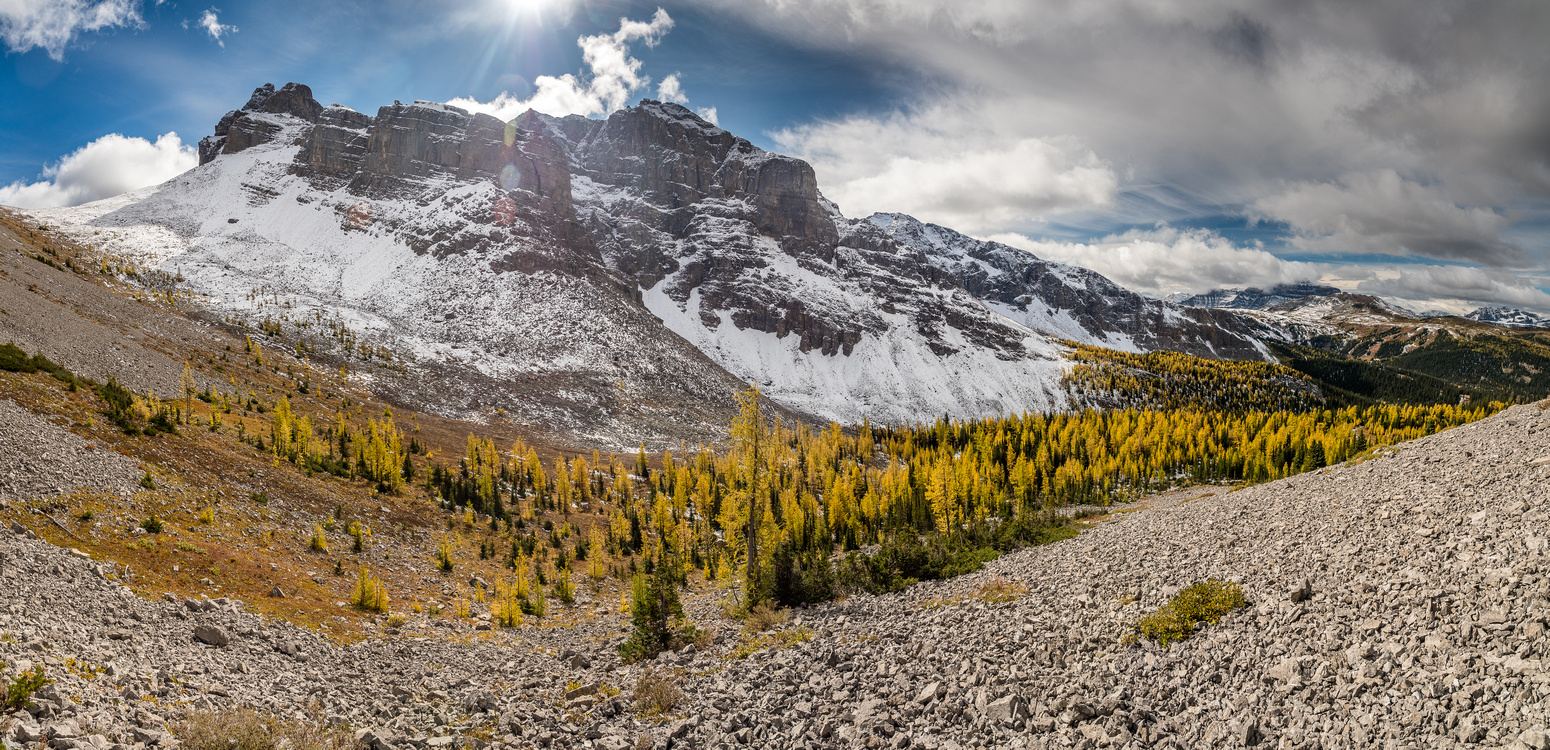 The day continues to improve as I look back at Howard Douglas (L) and over the larch forest under Eagle Mountain.