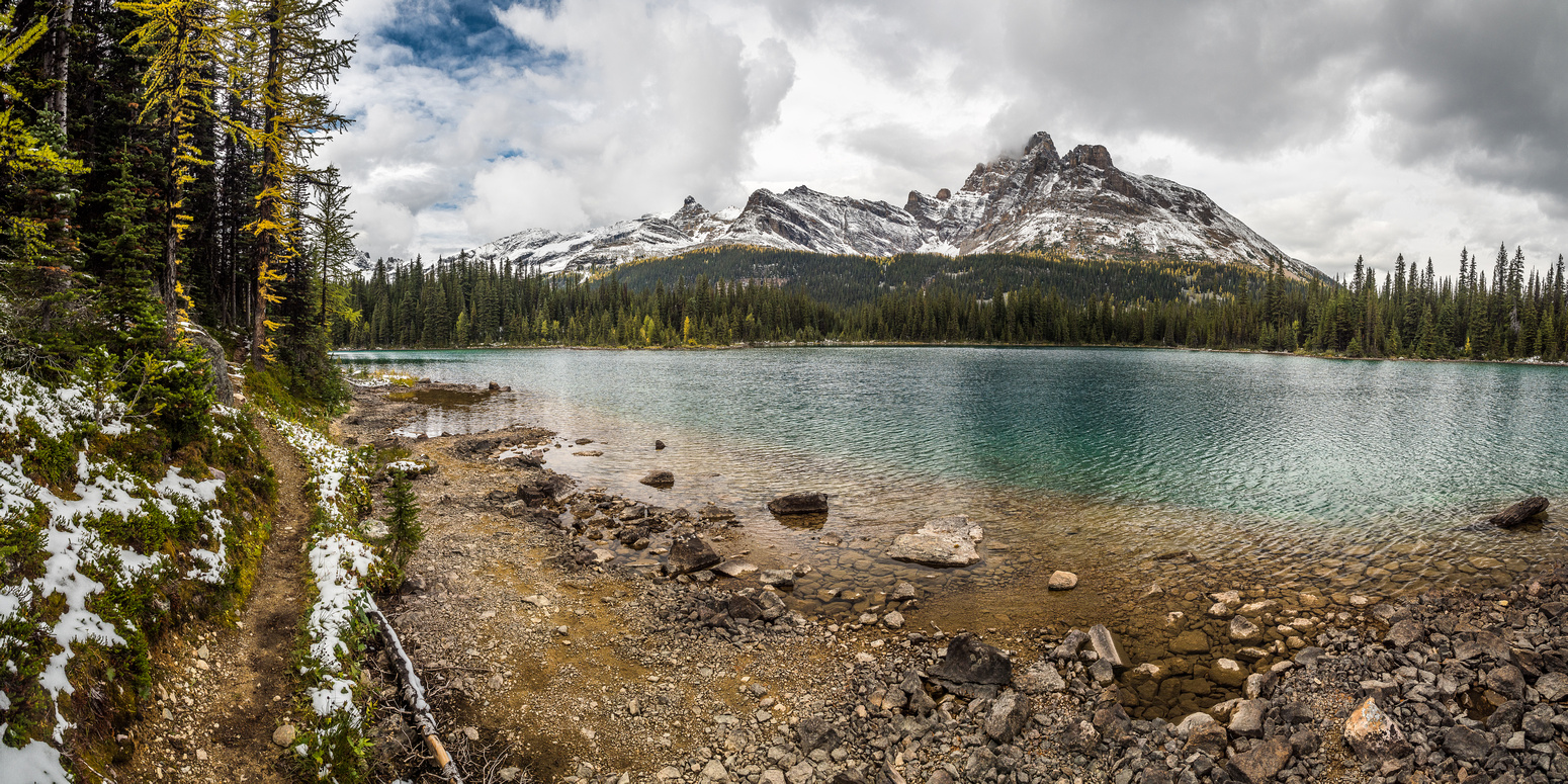 A last glance back over Linda Lake towards Cathedral Mountain.