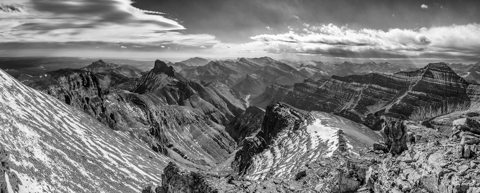 A B&W view of the dramatic clouds and scenery of the Ghost Wilderness Area.