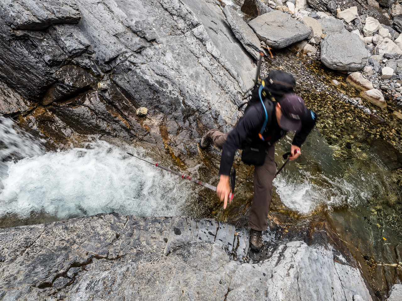 Cornelius jumps over a narrow section of Claw Creek.