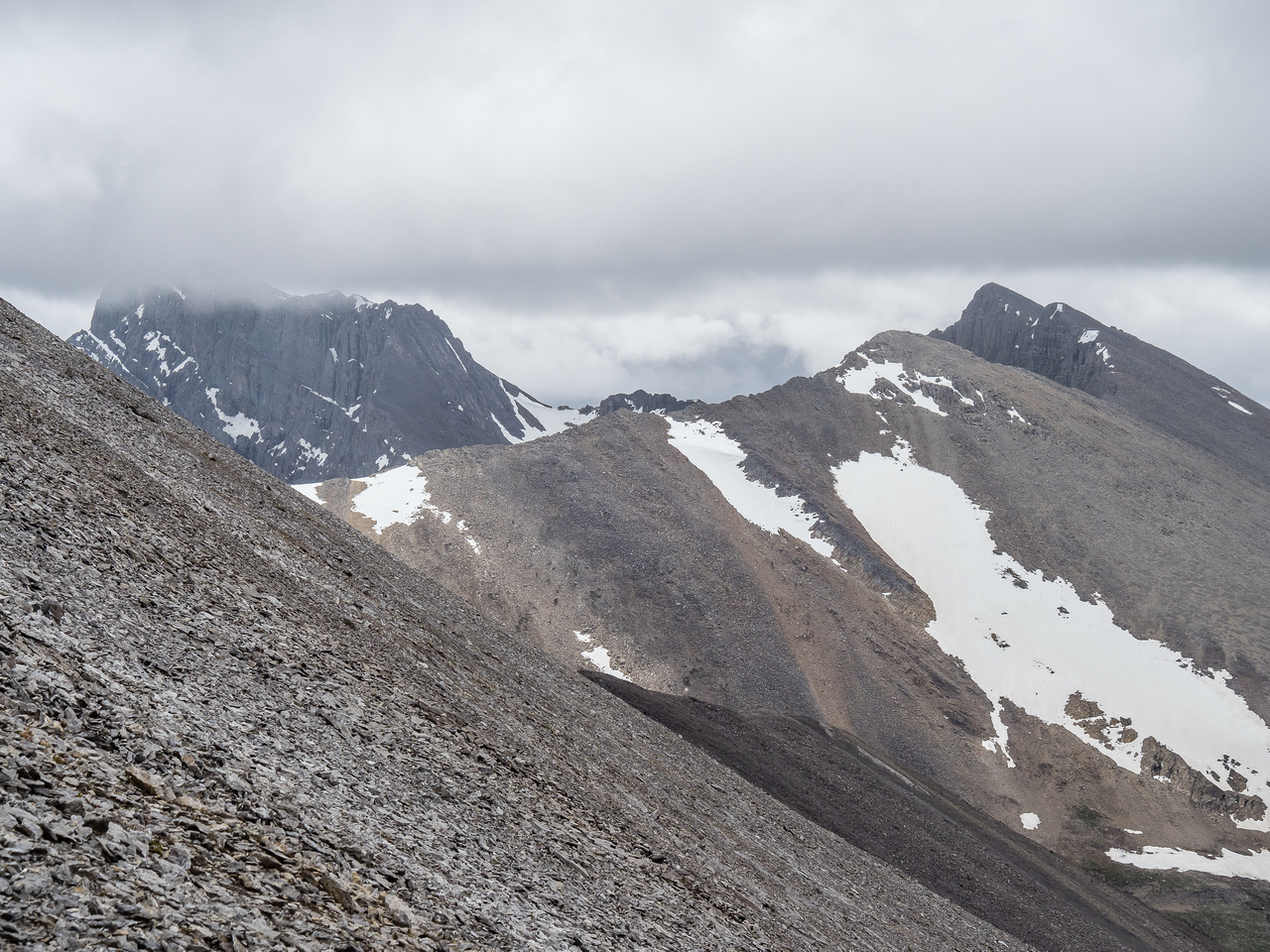A telephoto of Golden Mountain's long summit ridge.