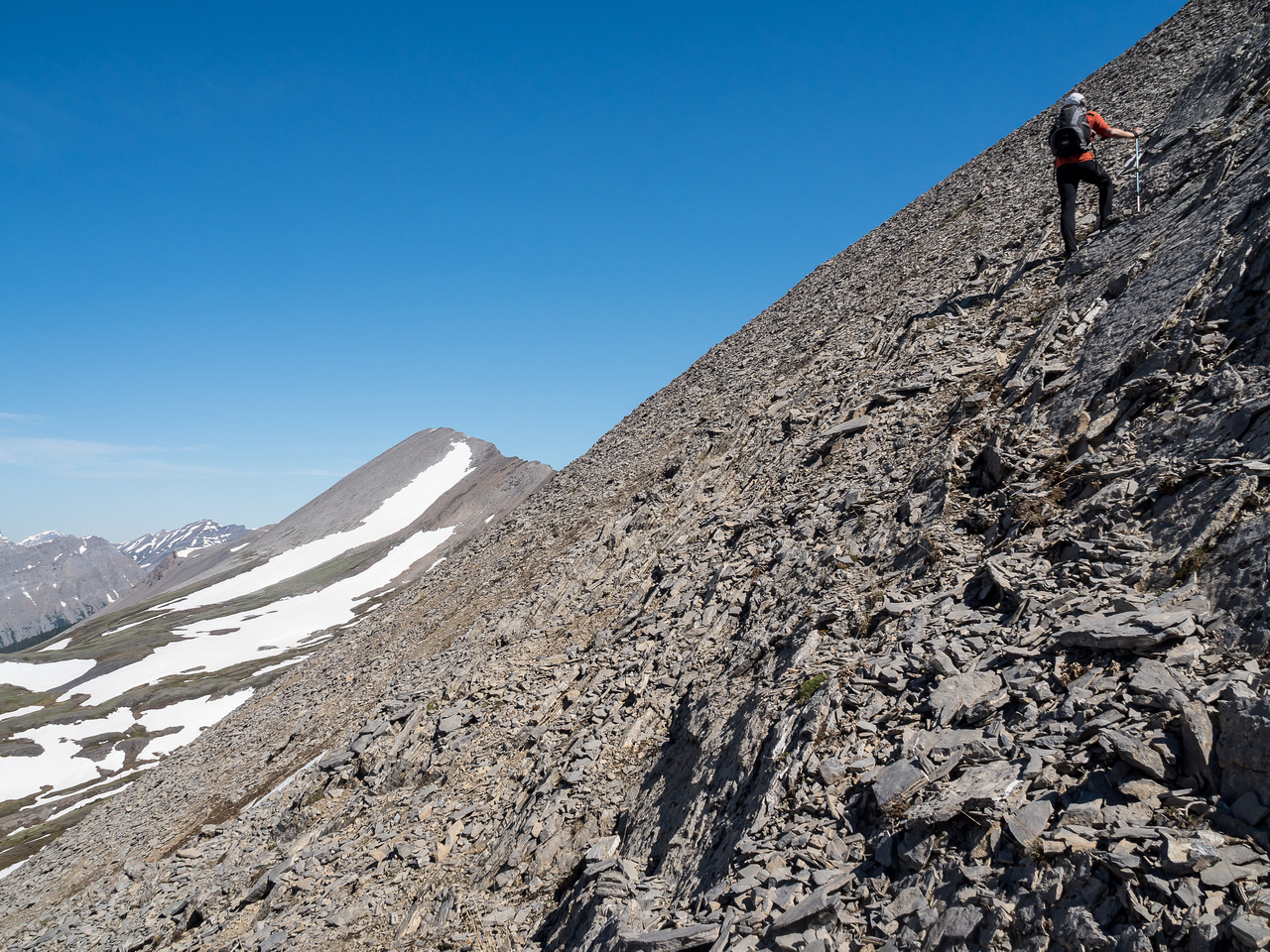 Looking towards Owl Peak's false summit from our ascent slope.