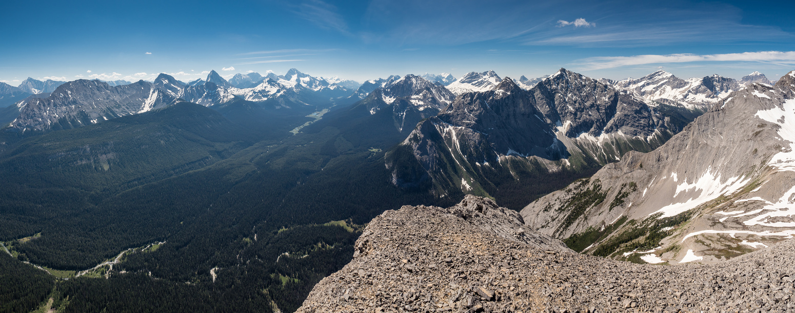 Views south off the south ridge with our approach visible at bottom left. Prominent peaks include (L to R), Shark, Smuts, Birdwood, Smutwood, Sir Douglas, Warre, White Man, Currie and Red Man Mountain