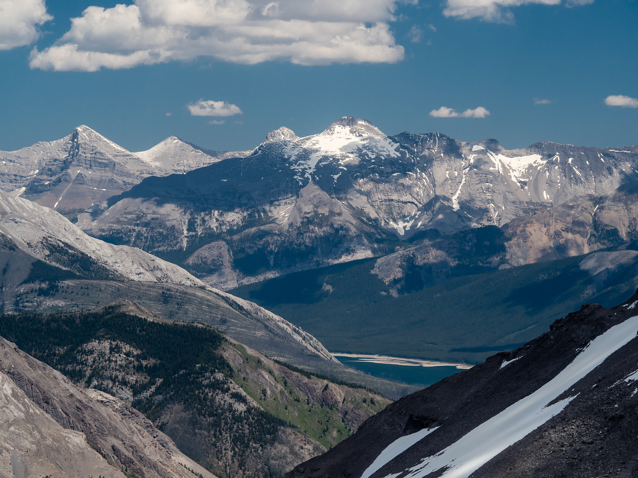 Only a slice of the Spray Lakes can be seen now - Lougheed and Sparrowhawk rising beyond.
