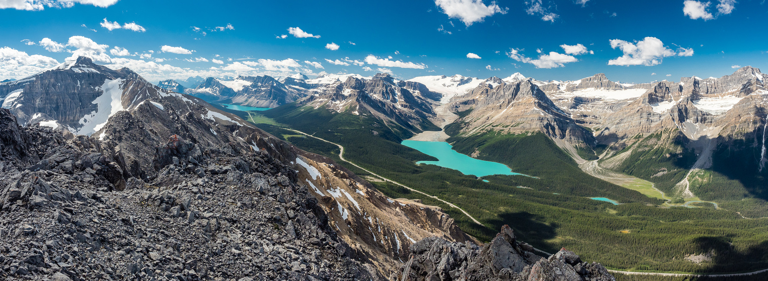 A tighter panorama towards Bow and Peyto Lakes.