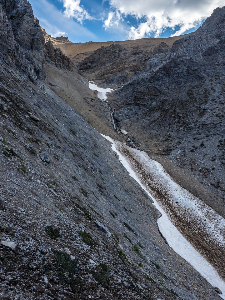 Looking up the lefthand gully.