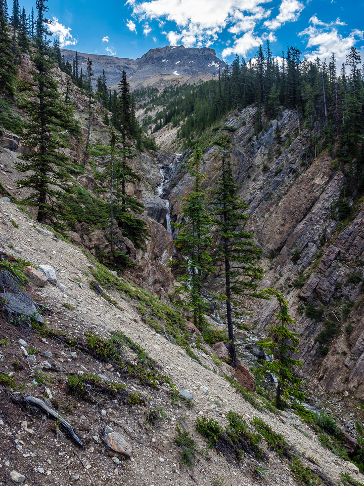 The waterfall in the drainage that is avoided on steep slopes to the north - on climber's left of the creek.
