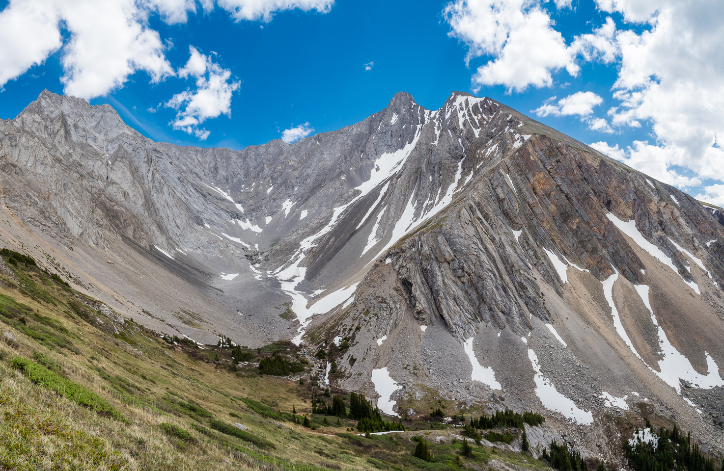 The lovely upper Grizzly Creek Valley with Potts at left and Evan Thomas at right.