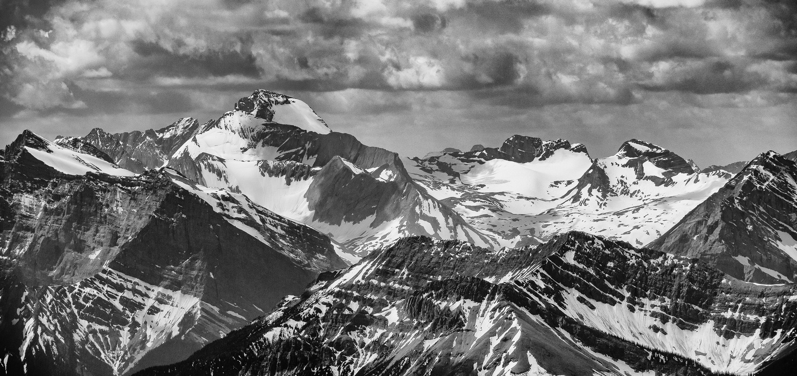 Excellent views towards the Aster Lake region including Joffre, Marlborough, Mangin and Cordonnier (L to R).