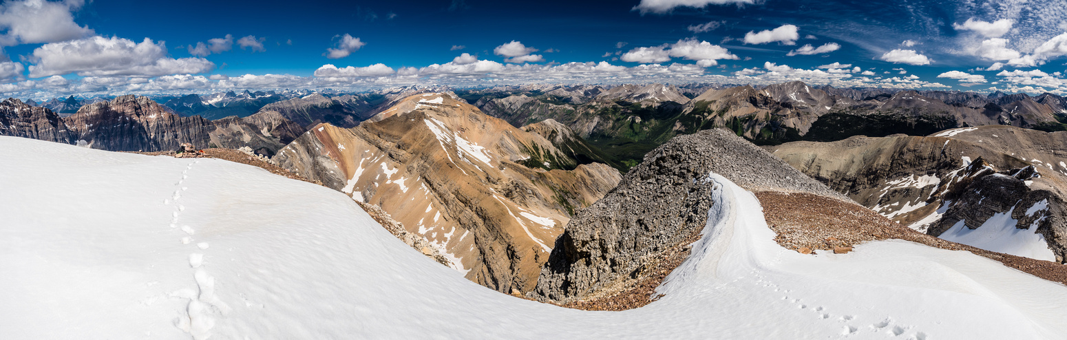 Looking north off the summit towards the rest of Simpson Ridge and towards Banff (C) and Kootenay (L). Kananaskis at distant right.