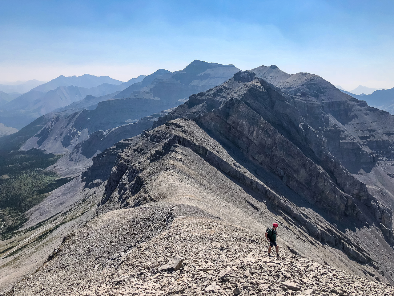 """Looking back at the interesting ridge traverse from Pyriform. If doing it the """"normal"""" way from this direction, the crux is encountered right away and is upclimbed instead of downclimbed like we did."""