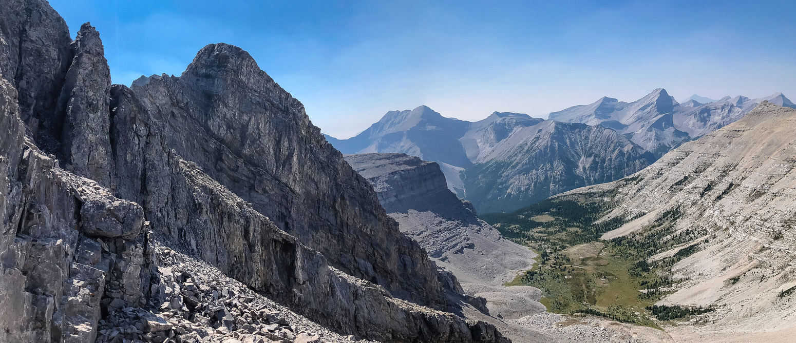 Impressive views along the crux at left and down the west alpine exit valley at right.
