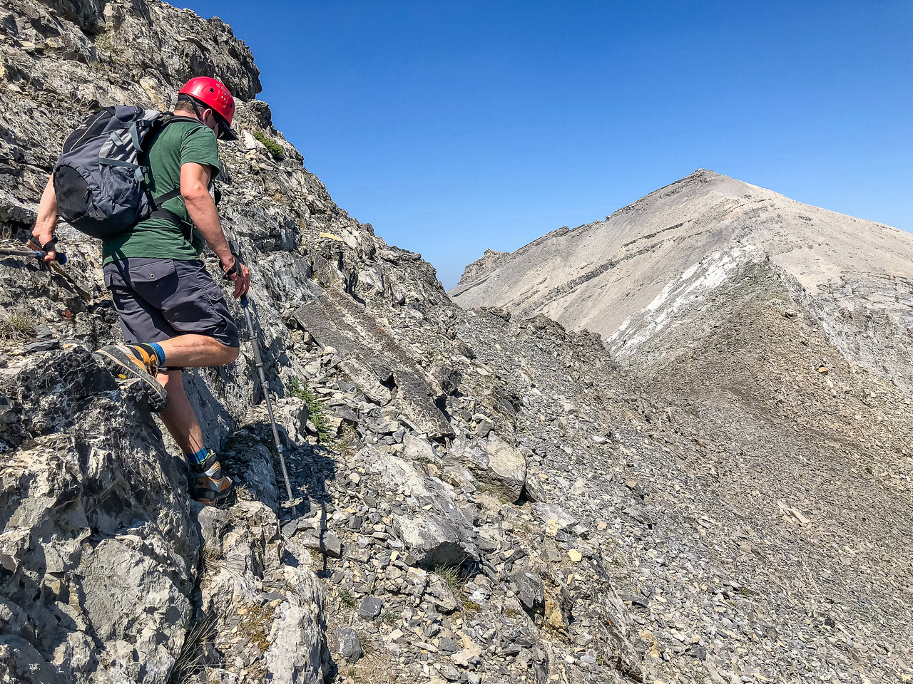 We always managed to find ledges leading down the east side of the ridge and around any serious sections.