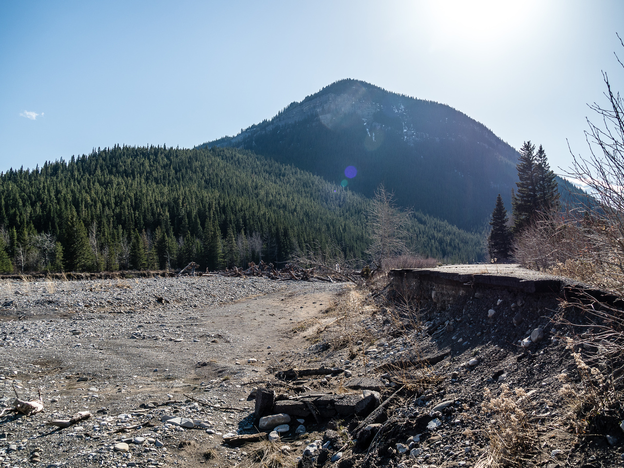 Mount Mann looms over the apocalypse that is the remains of the entrance road to the Sentinel Provincial Recreation Area - destroyed in the 2013 floods.