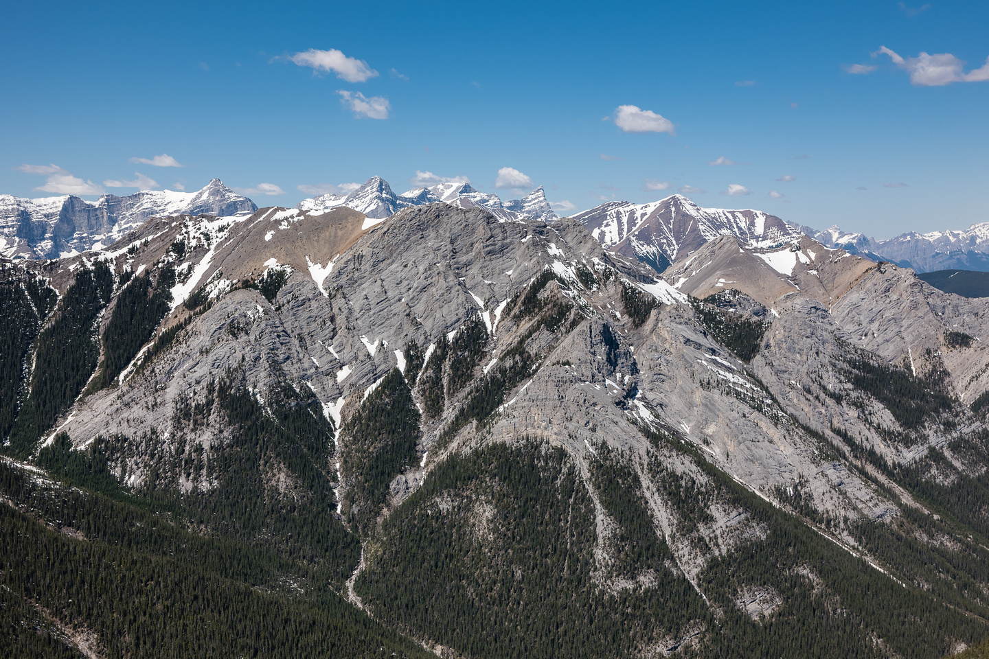 Looking over Wasootch Peak towards Mount Collembola and Lougheed at distant center.