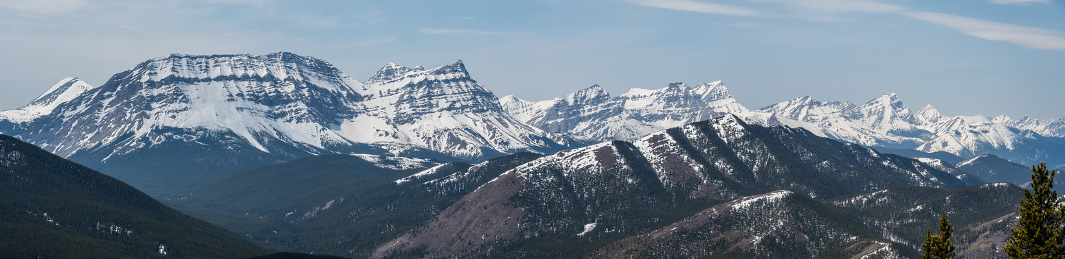 The High Rock Range stretches along the Continental Divide to the west and includes (L to R), Bolton, Armstrong, MacLaren, Strachan, Muir, McPhail, Horned and Mount Bishop.