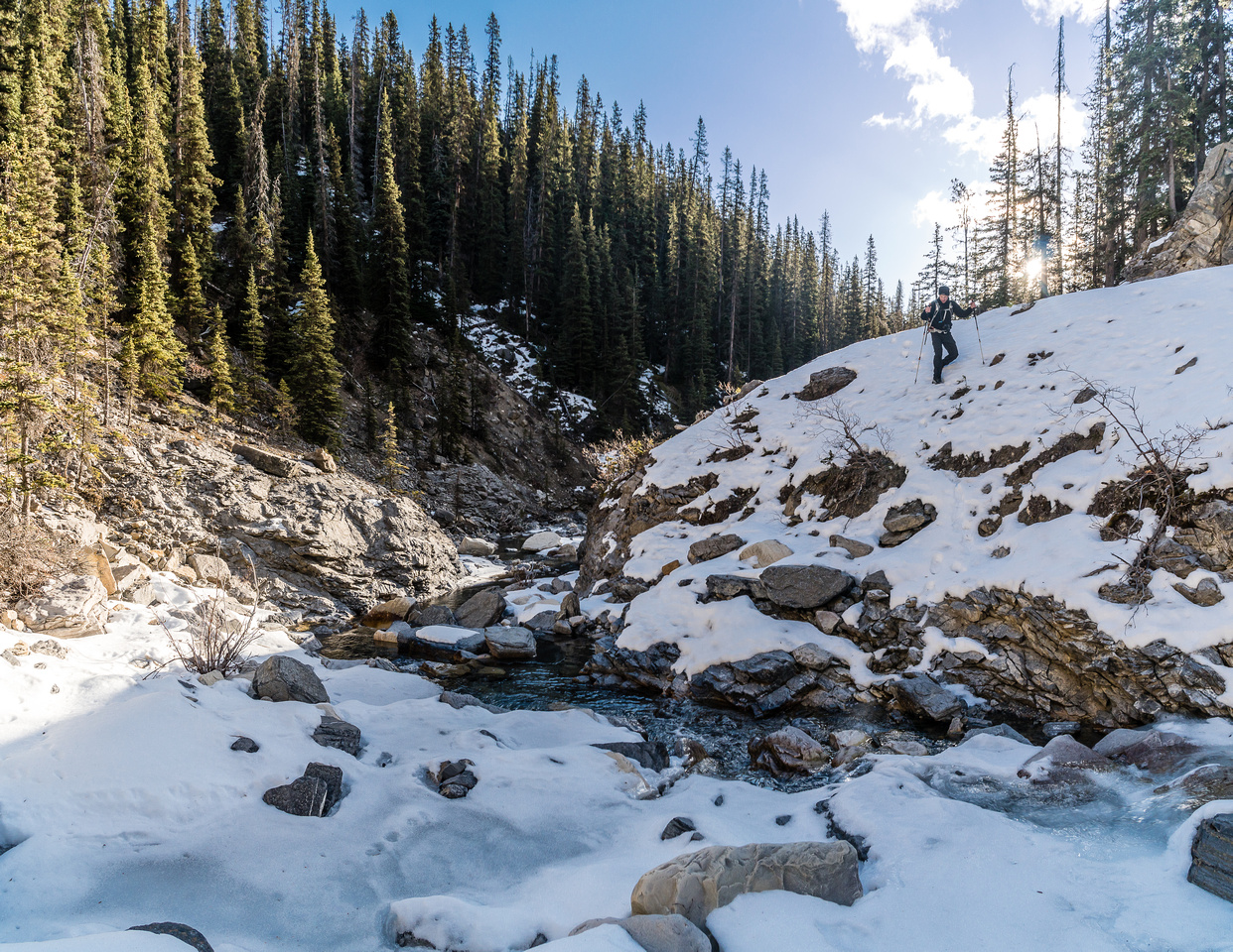 Lots of bypasses in the creek to get around waterfalls. The snow made it a bit tricky in spots.