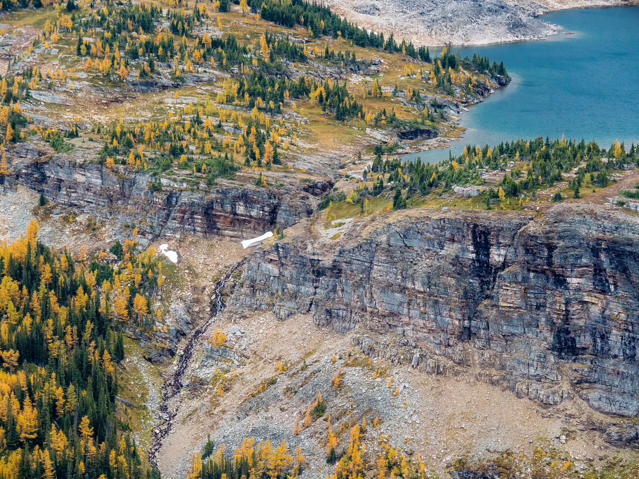 Waterfall and larches around the Mummy Lake drainage.