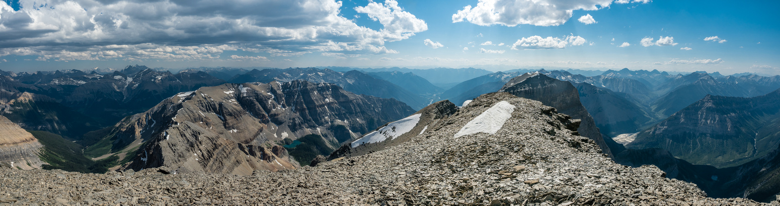Views off the SW end of the summit ridge are impressive. Soderholm and Talon at left with unnamed outlier and tarn at foreground left.