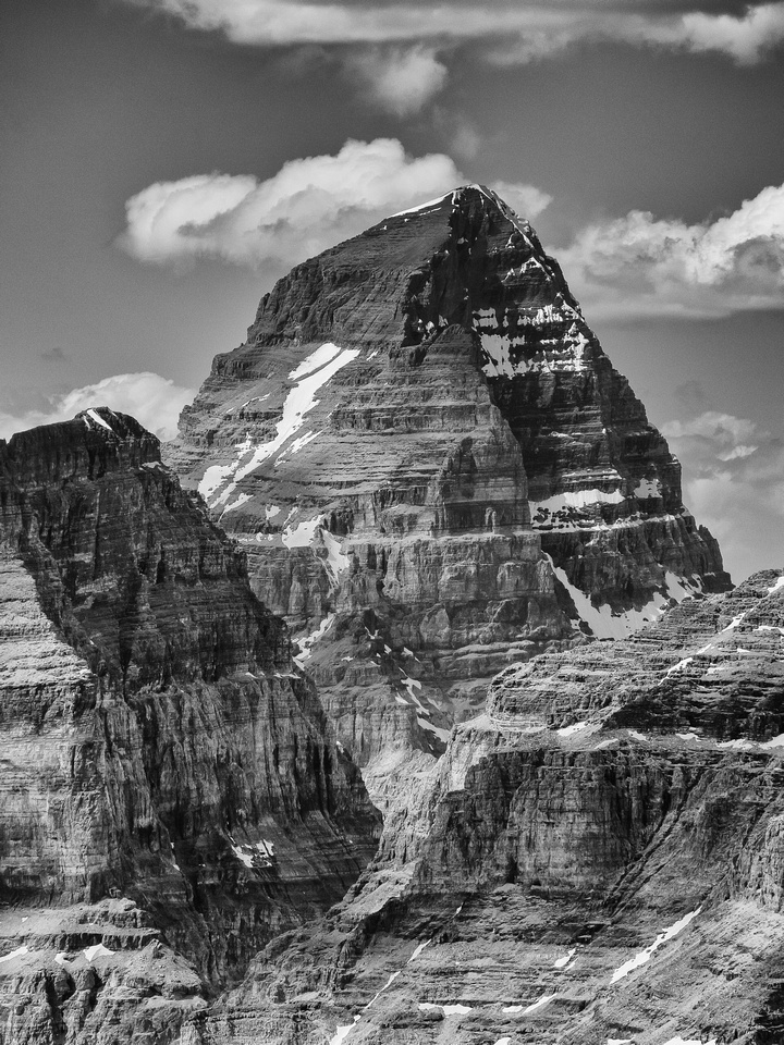 The always impressive and majestic Mount Assiniboine towers over the Aye / Eon col.