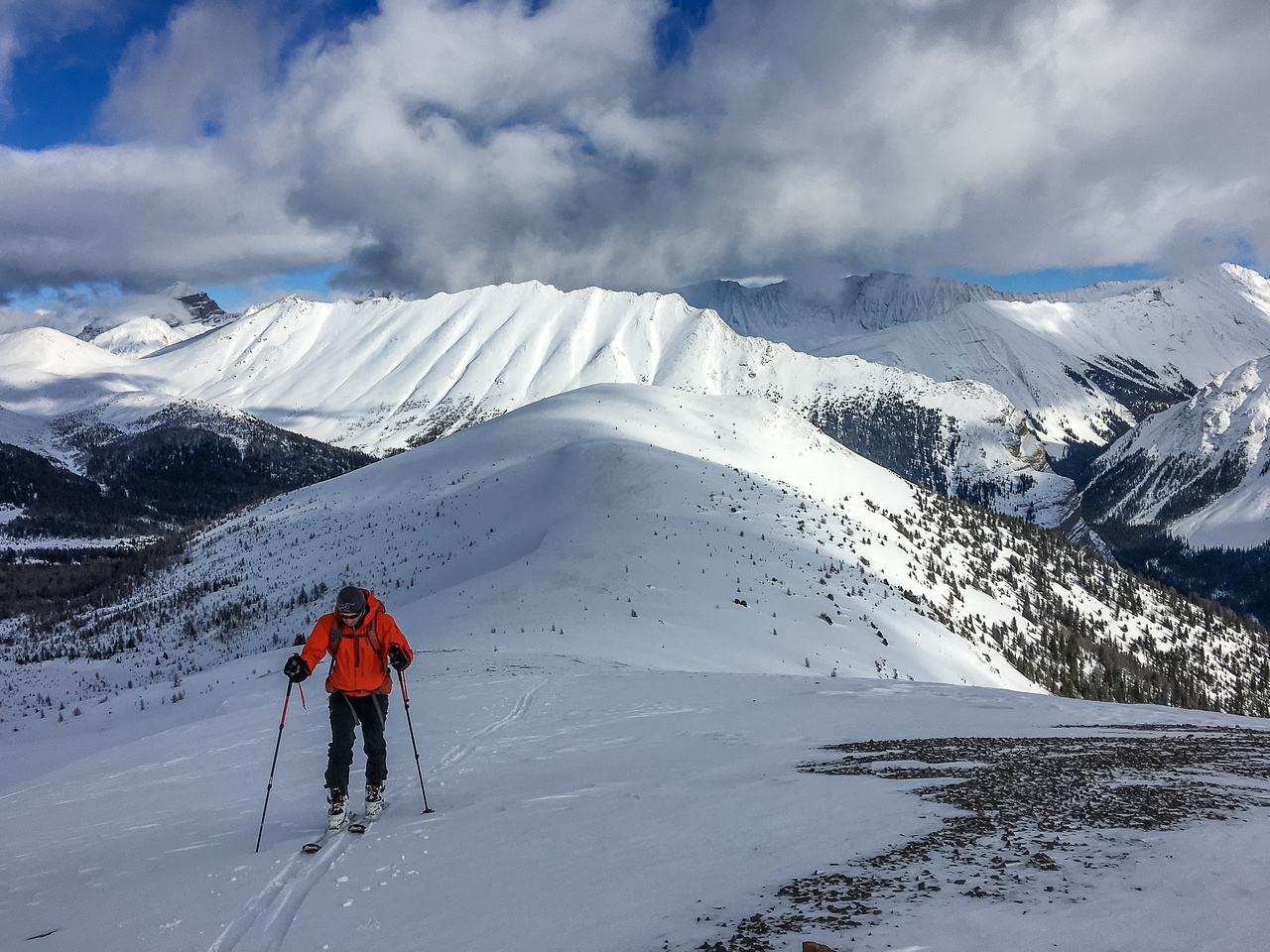 We skied up the east ridge until the snow was concrete and boot packed from there.
