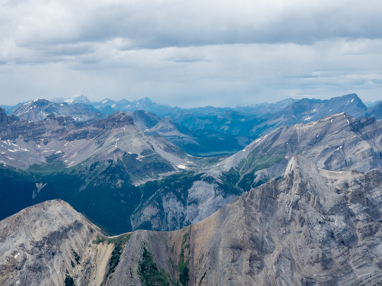 Looking over Wonder Pass with Marvel Peak in the foreground right, The Towers and Wonder Peak at mid distance and Lake Magog, The Nub, Nestor Peak, Mount Ball and even Citadel Peak, Citadel Pass, Gold