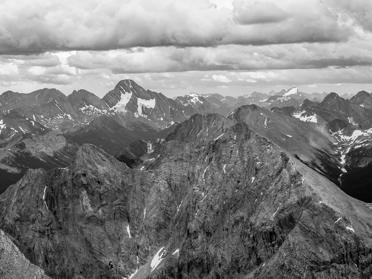 Looking over Mount Currie towards Sir Douglas and Joffre at distant right.