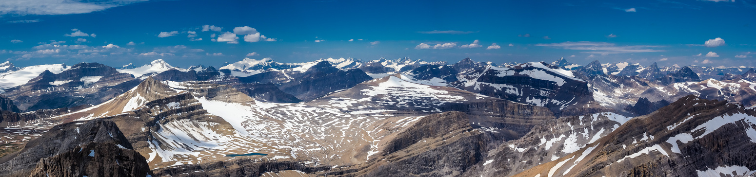 Tele-pano to the west covers many different icefields including (L to R), Wapta, Mummery, Freshfields, Lyells and even the Columbia Icefield at far right.
