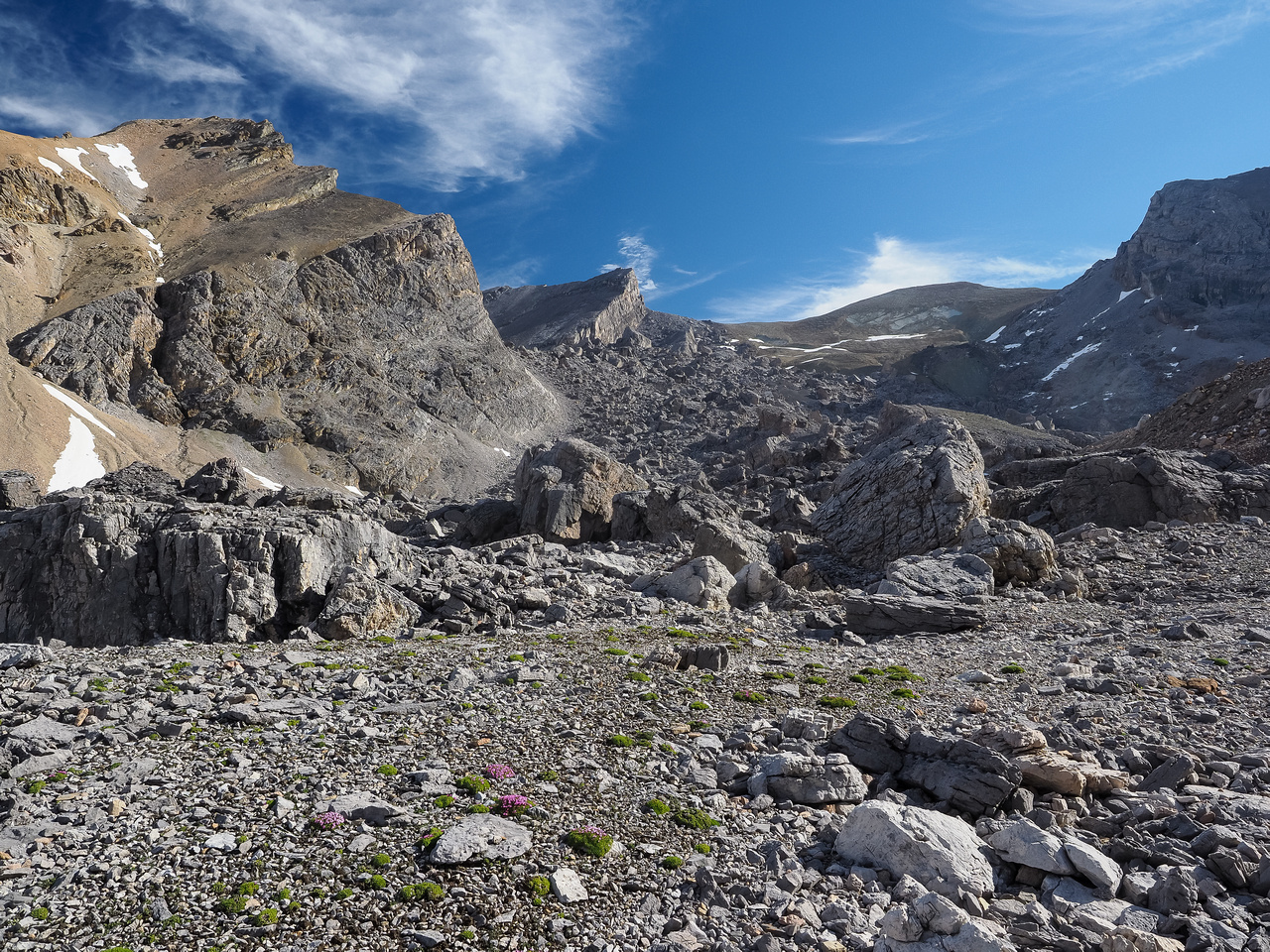 The huge boulder field between Bobac and Watermelon with Bobac's lower flank at left.