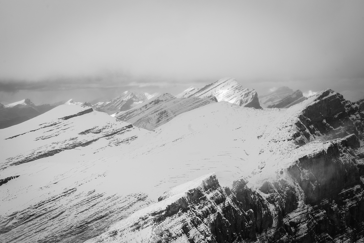 Looking north over the Drummond Icefield to Cataract Peak.