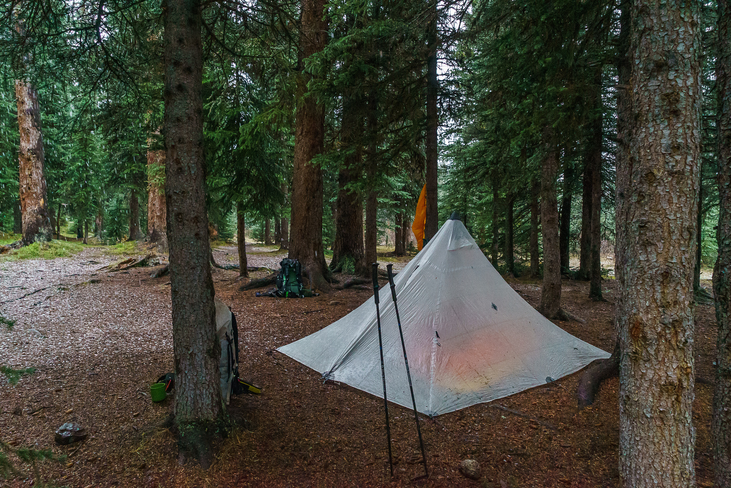 Our cozy camp at Red Deer Lakes.
