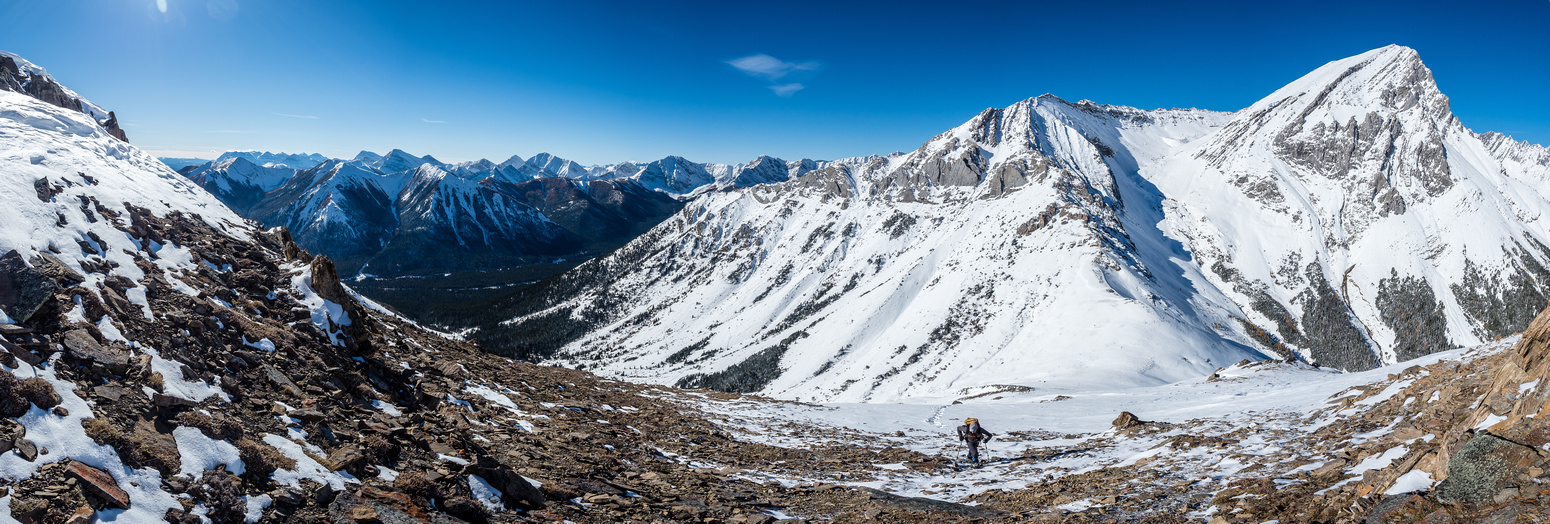 Incredible conditions as we cross a wind blasted section on ascent.