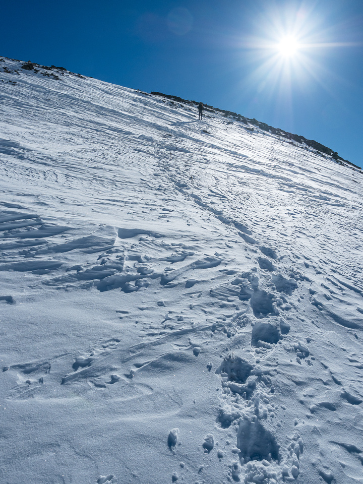 The 'shoes were worth it big time as we ascended - the snow was deep and wind loaded in spots and bottomless in others.