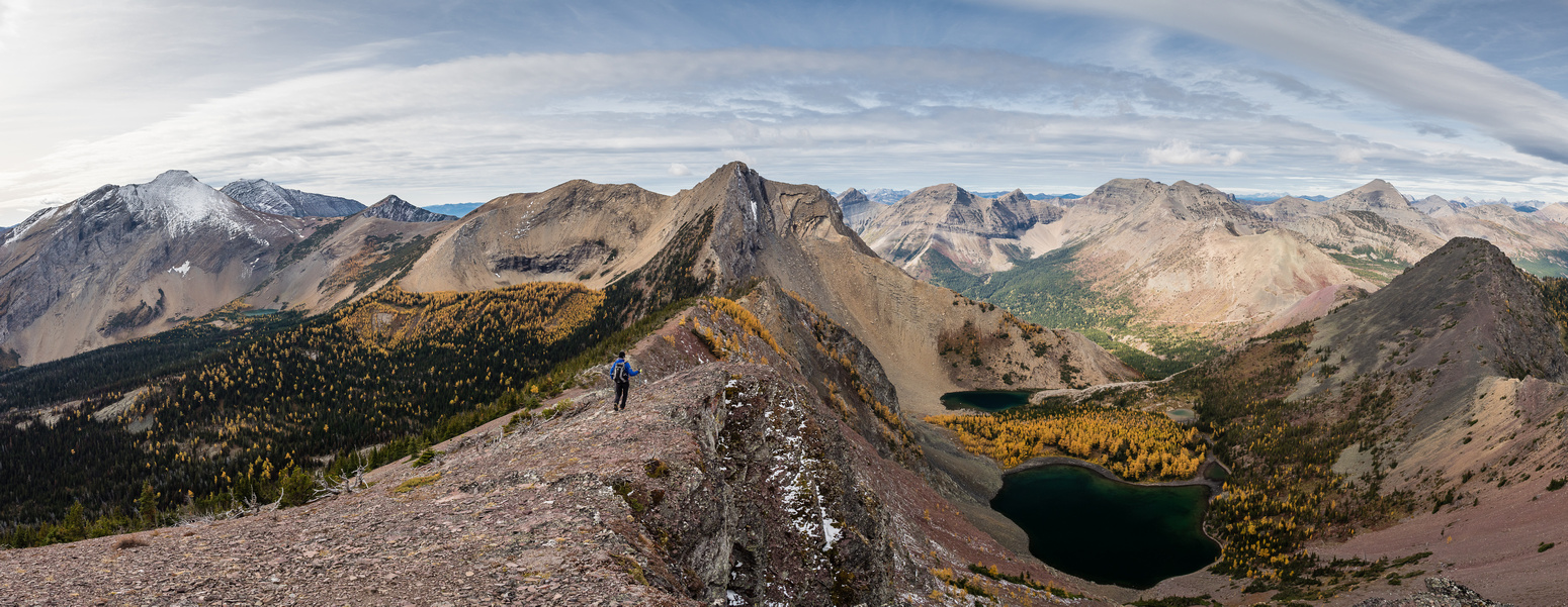 Initially the ridge towards Three Lakes Ridge is pretty tame with great views. Jake Smith and Scarpe at left and the Middlepass Lakes at lower right.