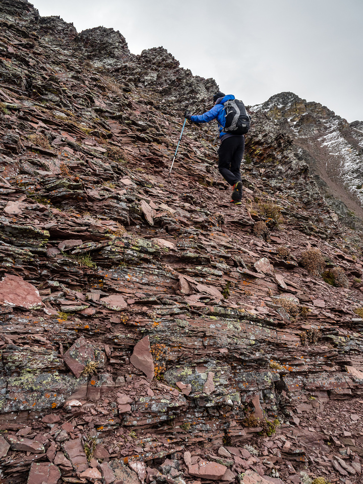 Any difficulties are avoided on stepped terrain to climber's right of the crest.