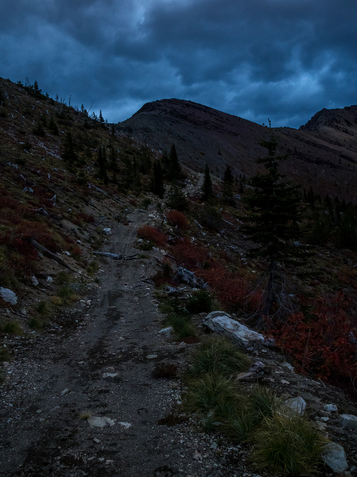 It's even darker than this and we're still not up at the pass and our waiting bikes.