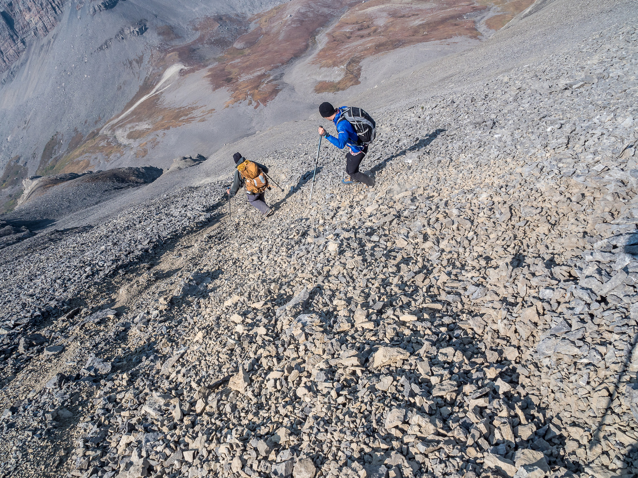 Starting scree avalanches on the west face of Beehive.