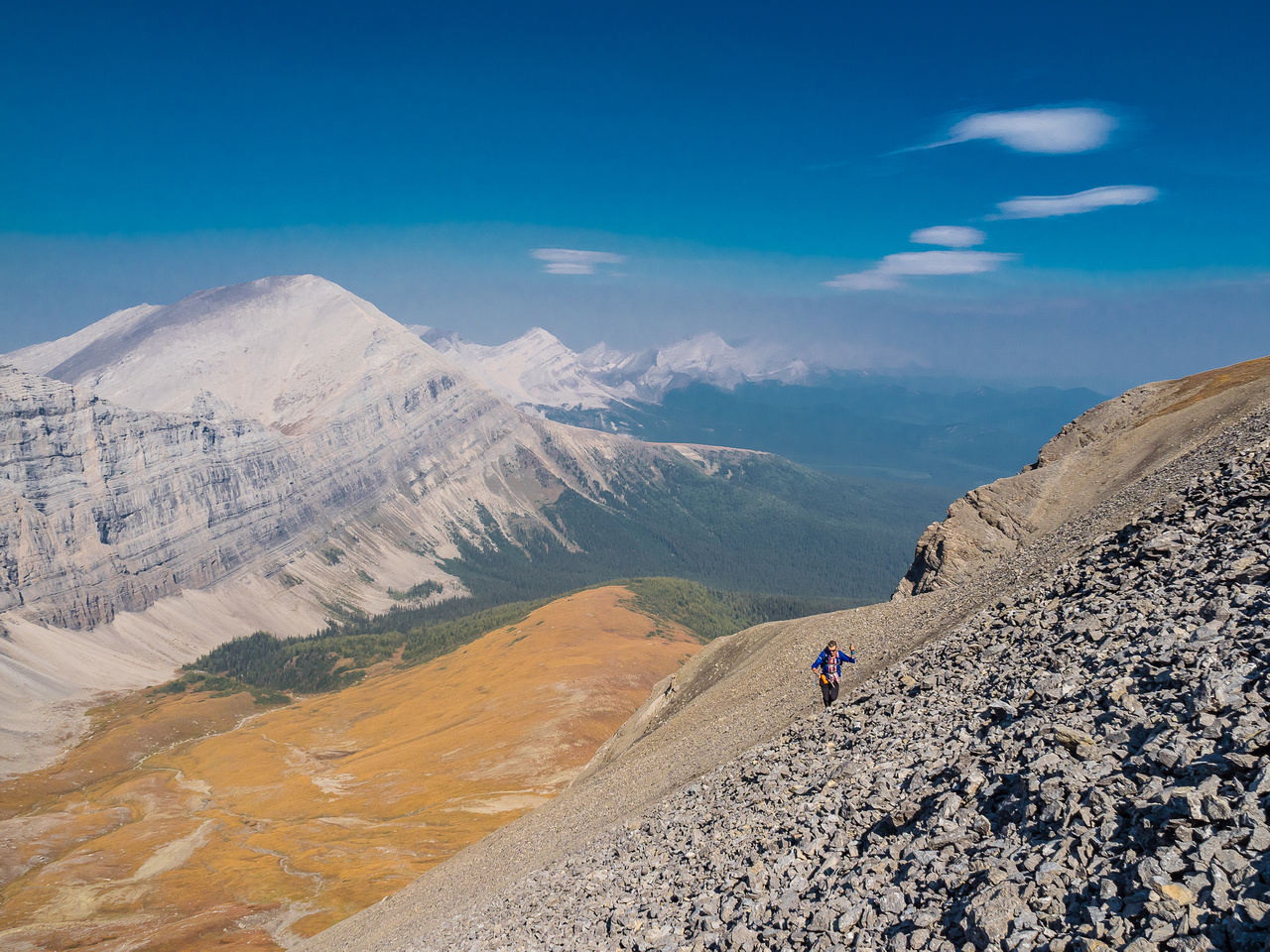 The smoke is approaching as we continue to grind up the west face scree slopes.