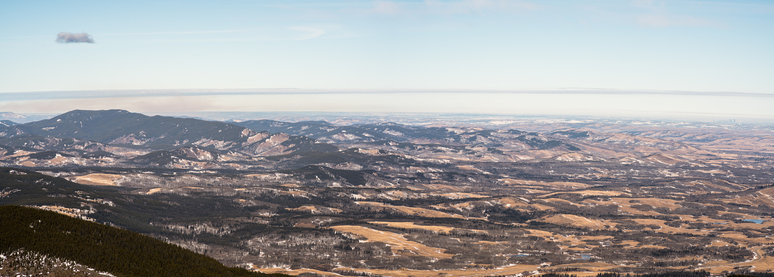 Looking over the prairies - Calgary at far right and Eden Valley at lower center.