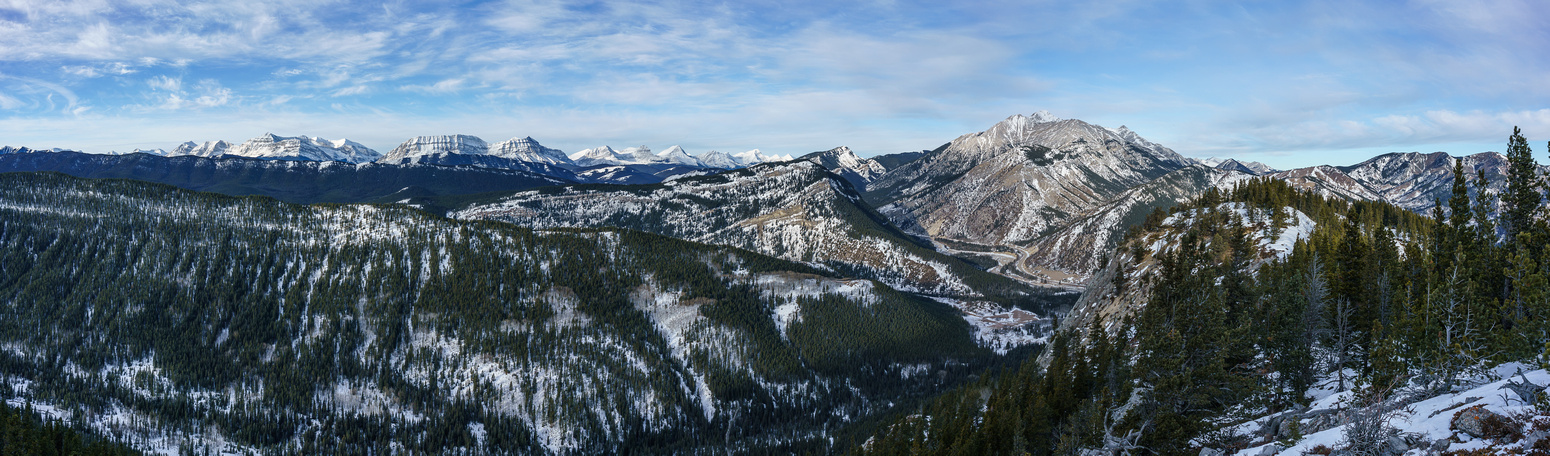 Views back along the ridge to Holy Cross at right with Zephyr Creek at lower center running up valley to the left.