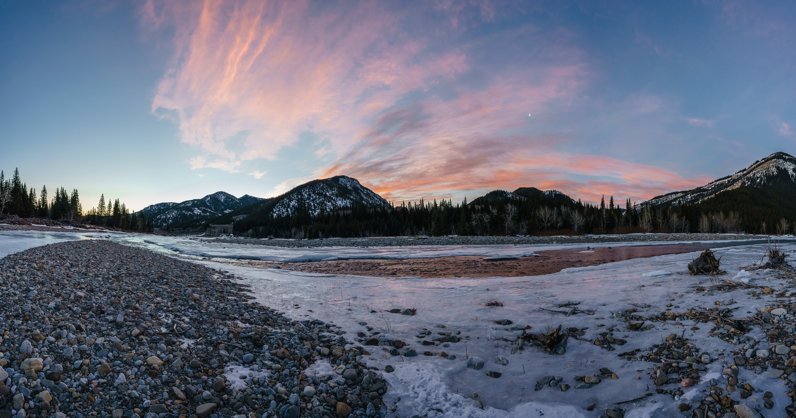 Sunrise views along the Highwood River. The north end of North Limestone Ridge is the second ridge from left here.