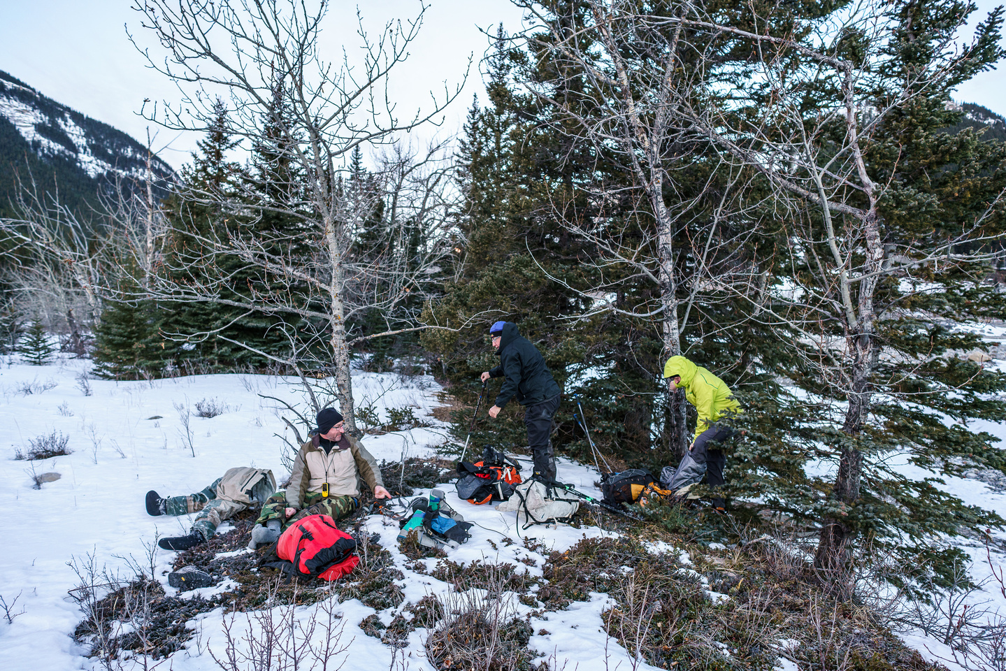 Gearing up for our hike after crossing a frosty Highwood River.