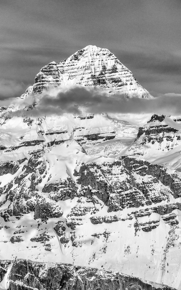 Mount Assiniboine's east face hasn't been climbed often.