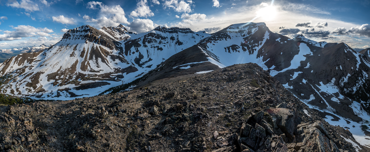 Looking back towards Whirlpool Ridge at left and Two O'Clock Peak at right of center.