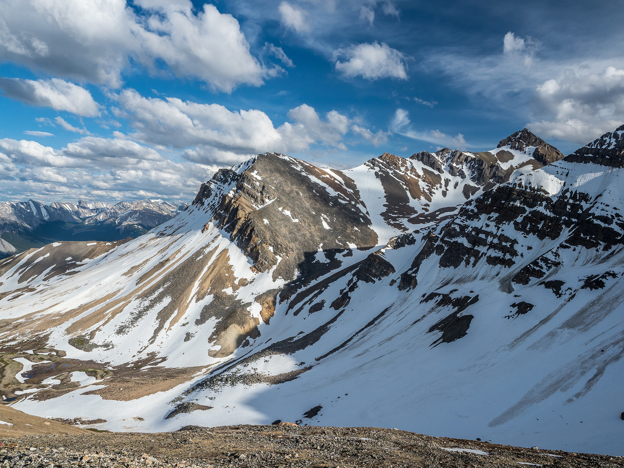Looking over at the impressive form of Whirlpool Ridge.